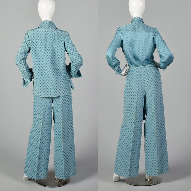 Medium 1973 Christian Dior Haute Couture Silk Blue Three Piece Set