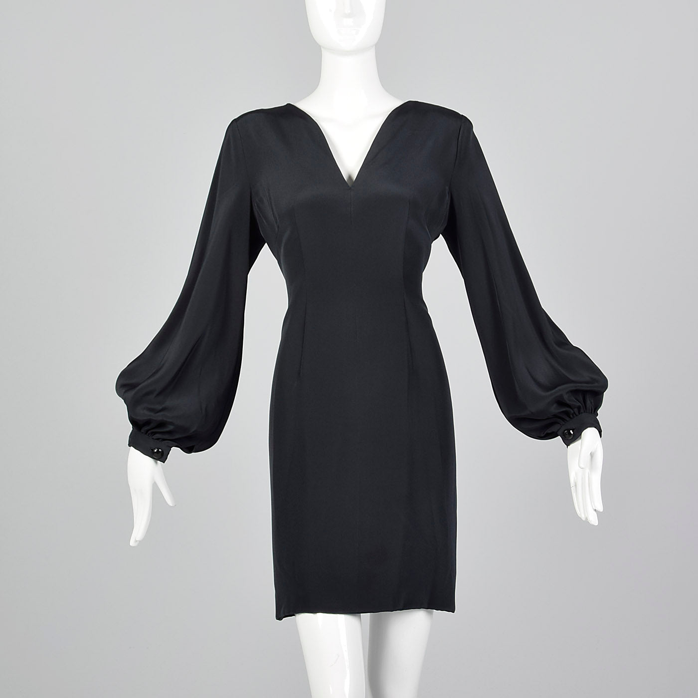 1980s Pauline Trigere Shift Dress with Bishop Sleeve