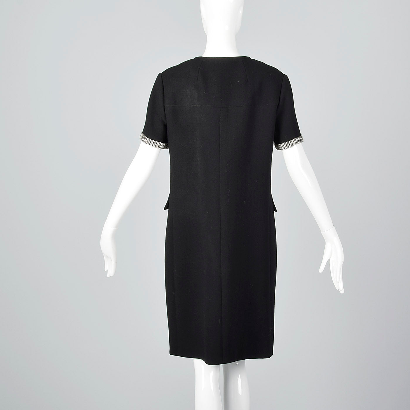 1960s Black Wool Dress with Rhinestone Trim
