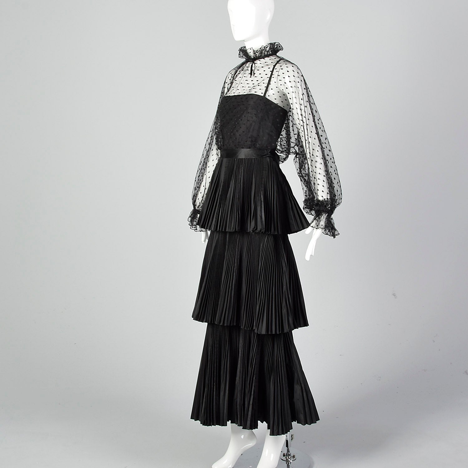 1970s Richilene Black Pleated Maxi Dress with Mesh Top