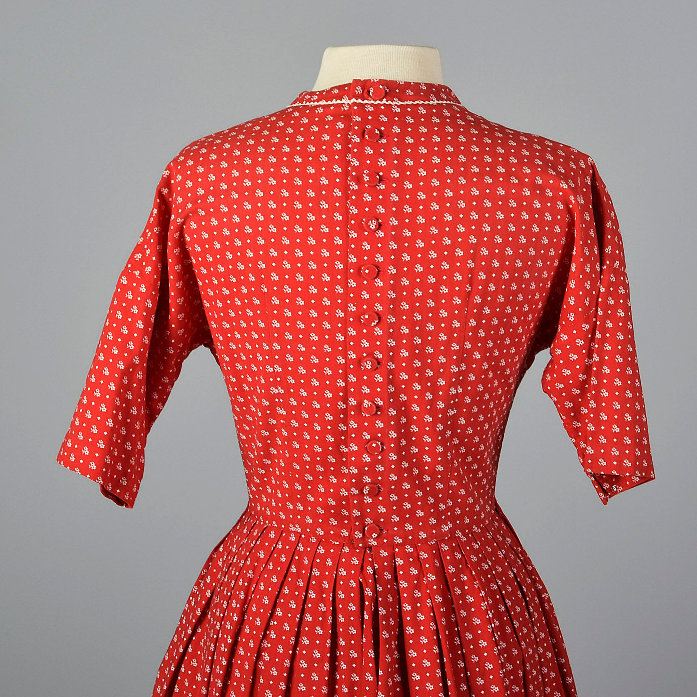 1950s Lanz Red Cotton Fit and Flare Dress