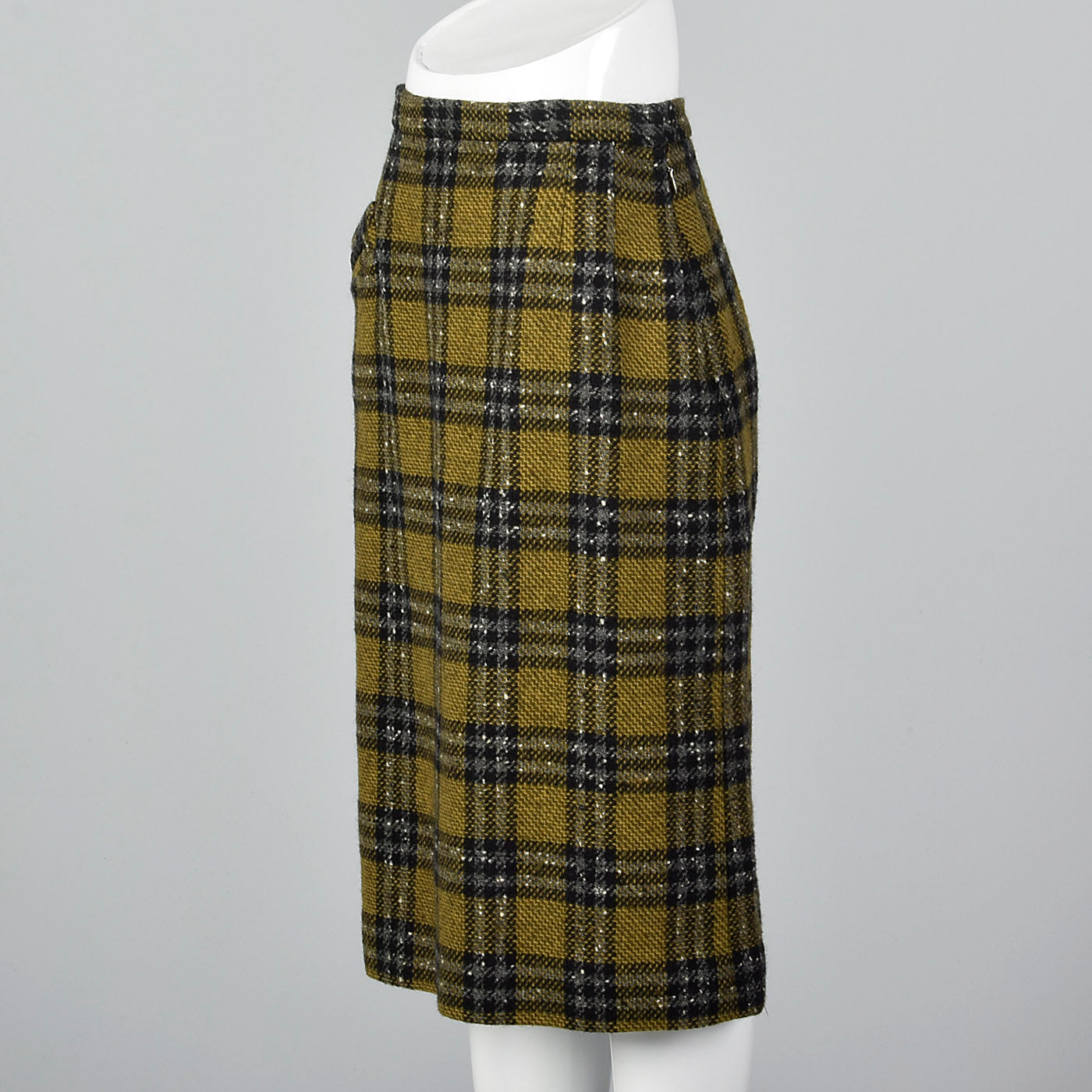 1950s Plaid Tweed Skirt with Leather Braid Trim Pocket