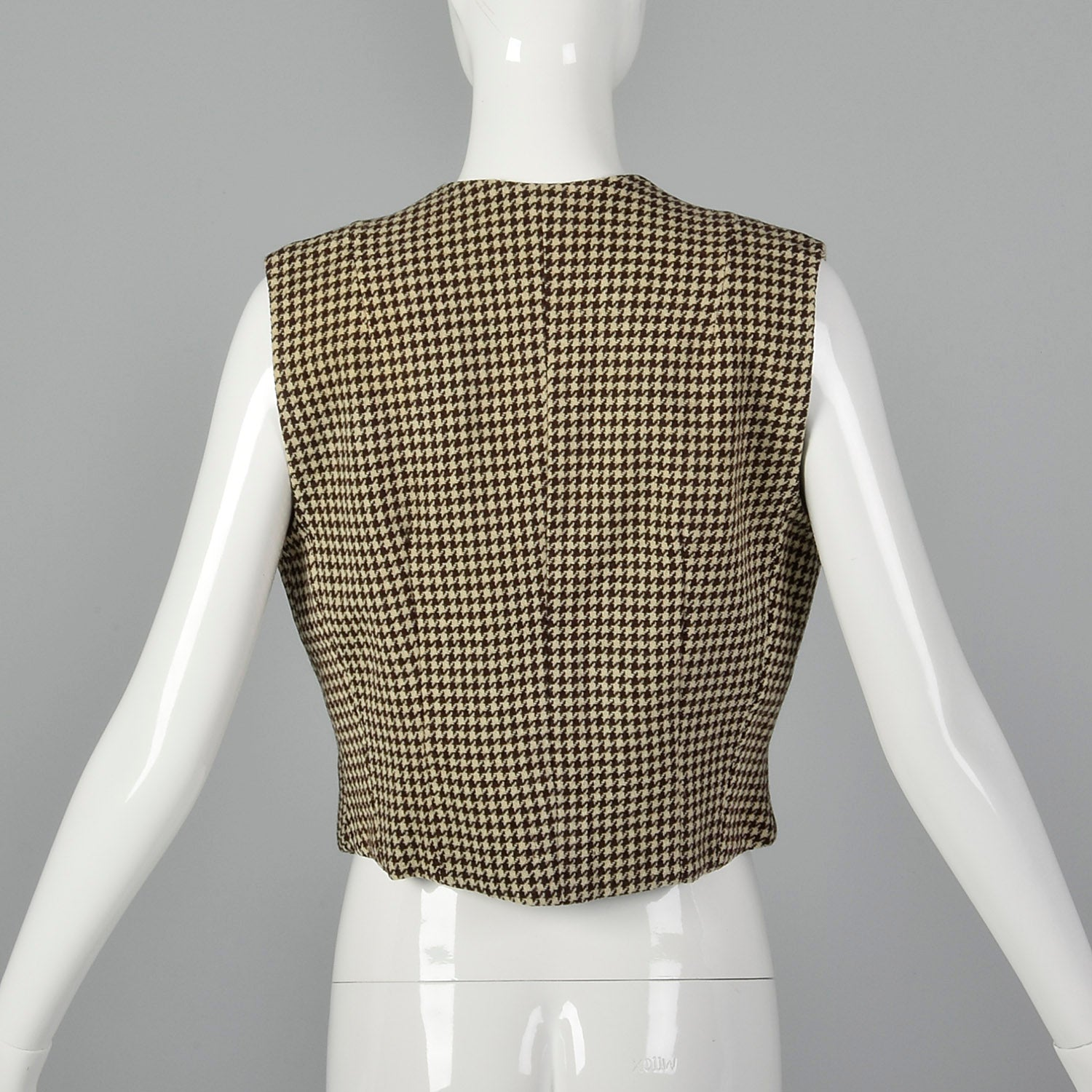 1970s Brown Houndstooth Tweed Vest