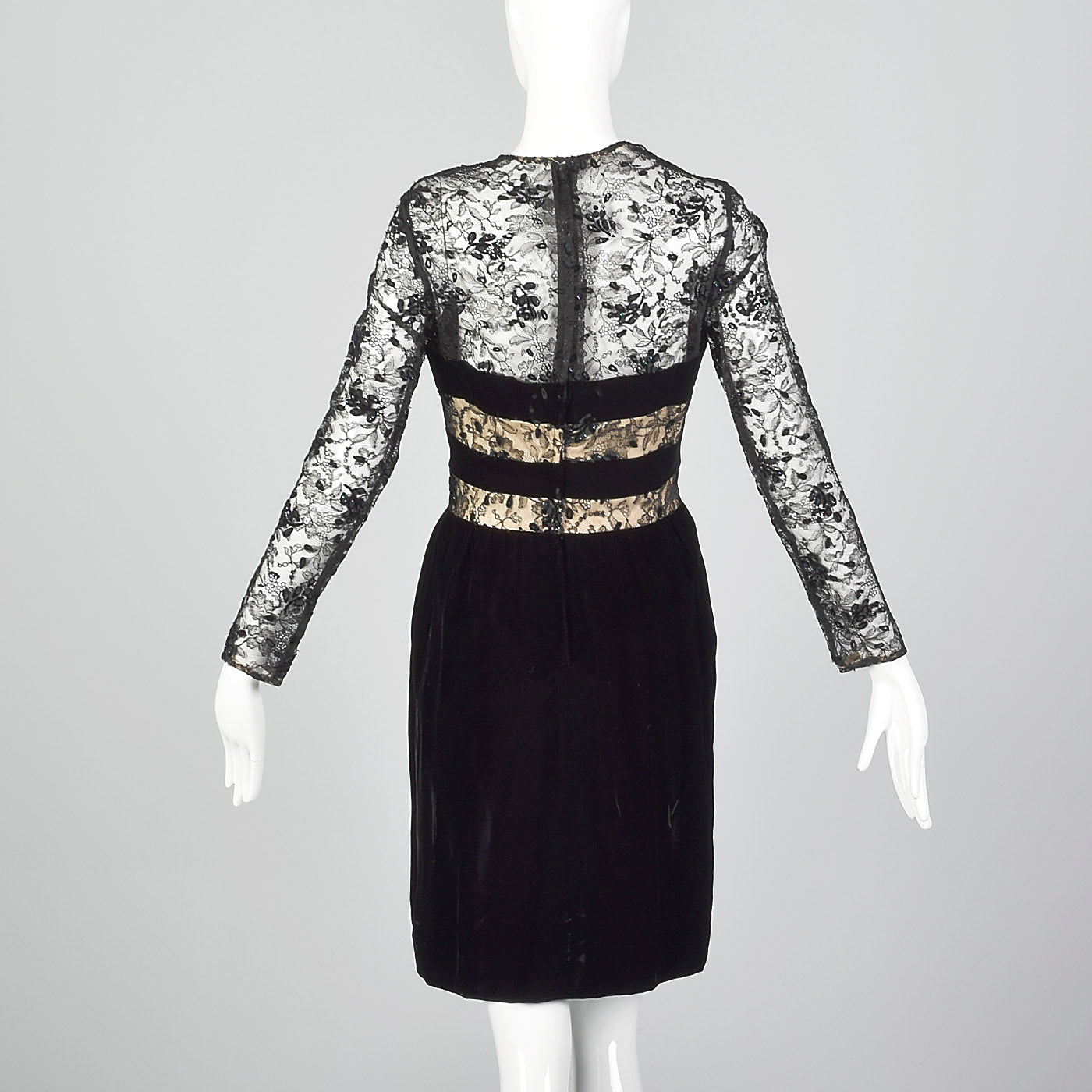 1980s Victor Costa Black Velvet Dress with Lace Illusion Bodice