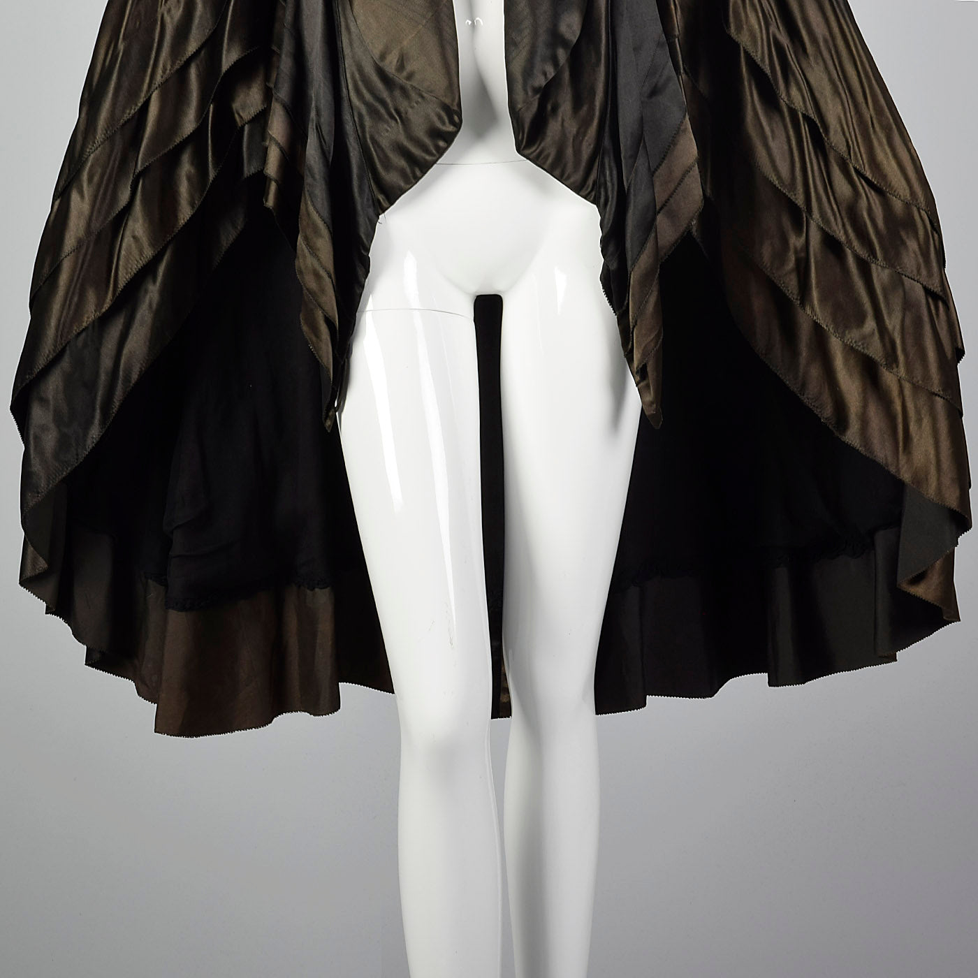1920s Art Deco Layered Silk Cape