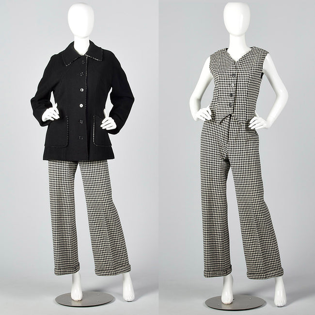 1970s Three Piece Suit Separates in Black & White Houndstooth Tweed