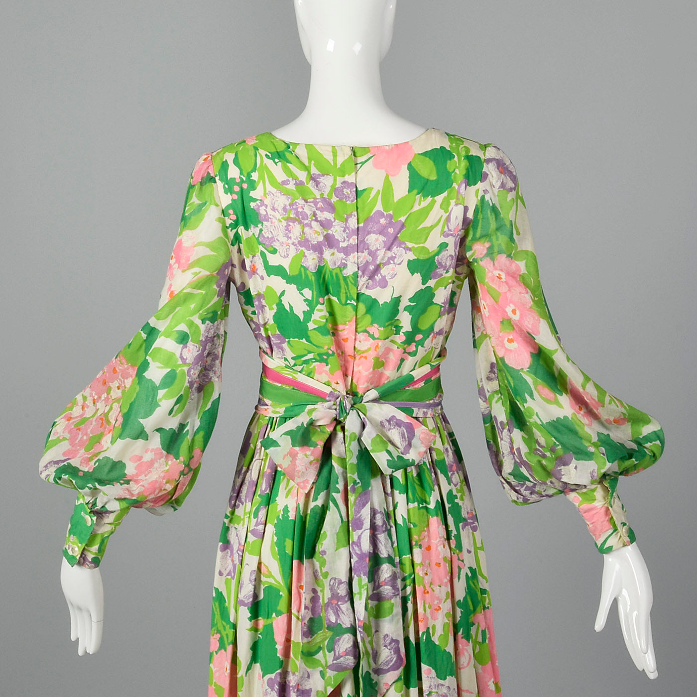1970s Floral Maxi Dress with Bishop Sleeves