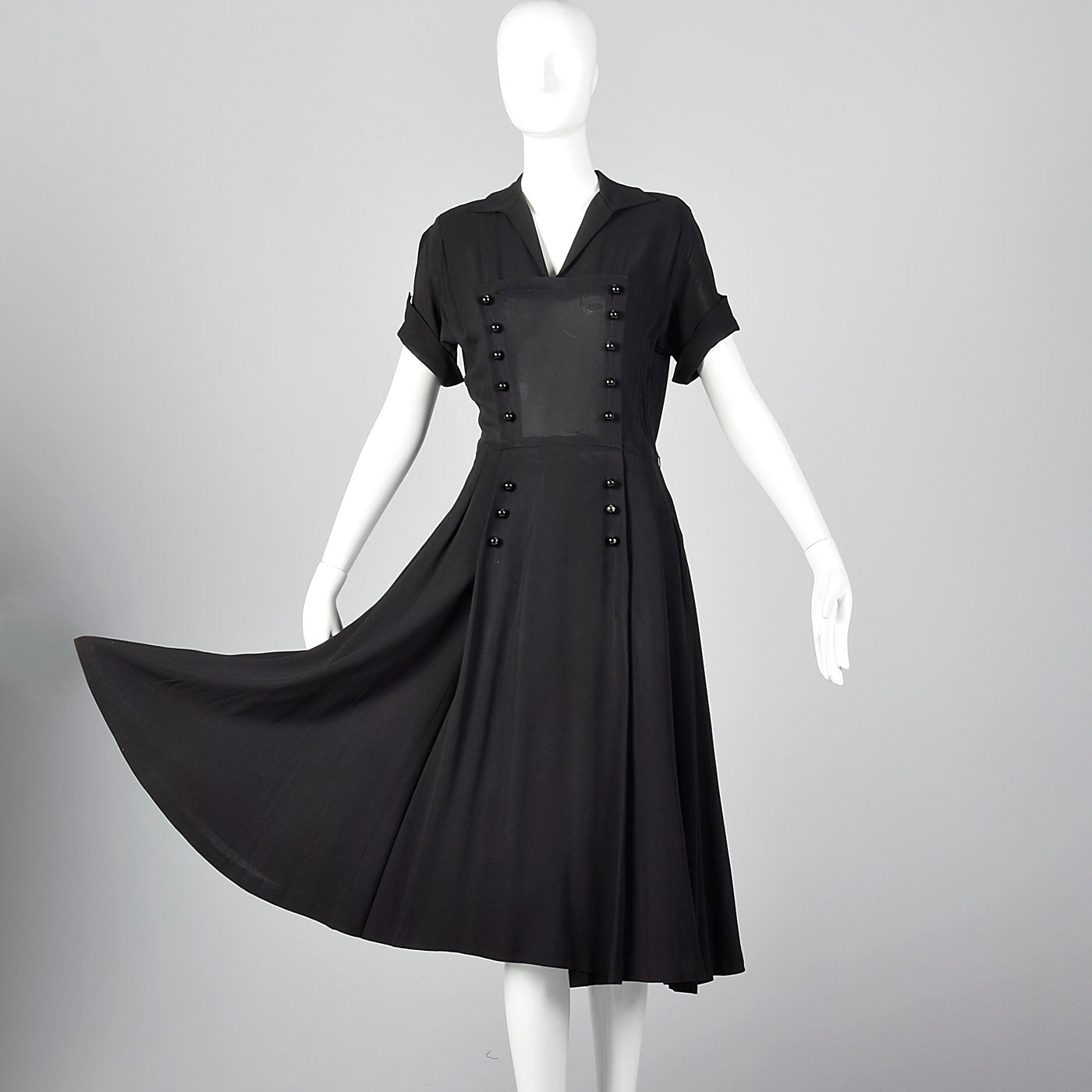 1950s Black Dress with Double Breasted Decorative Buttons