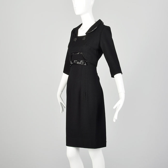 Small 1950s Black Collared Dress