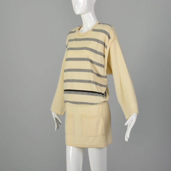 Medium Sonia Rykiel 1980s Cream Striped Tunic Sweater