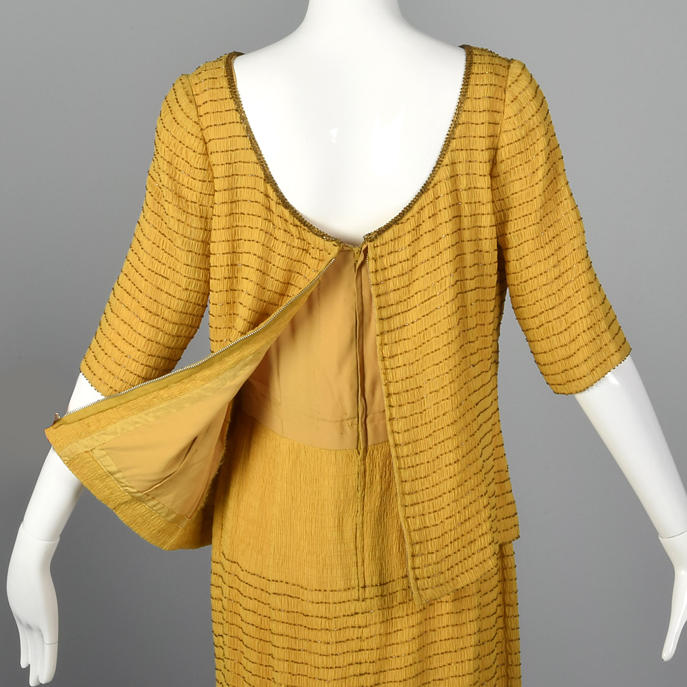 1960s Yellow Silk Dress with Beads
