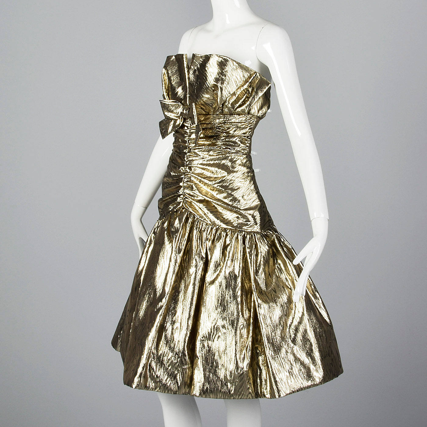 1980s Victor Costa Metallic Gold Strapless Party Dress