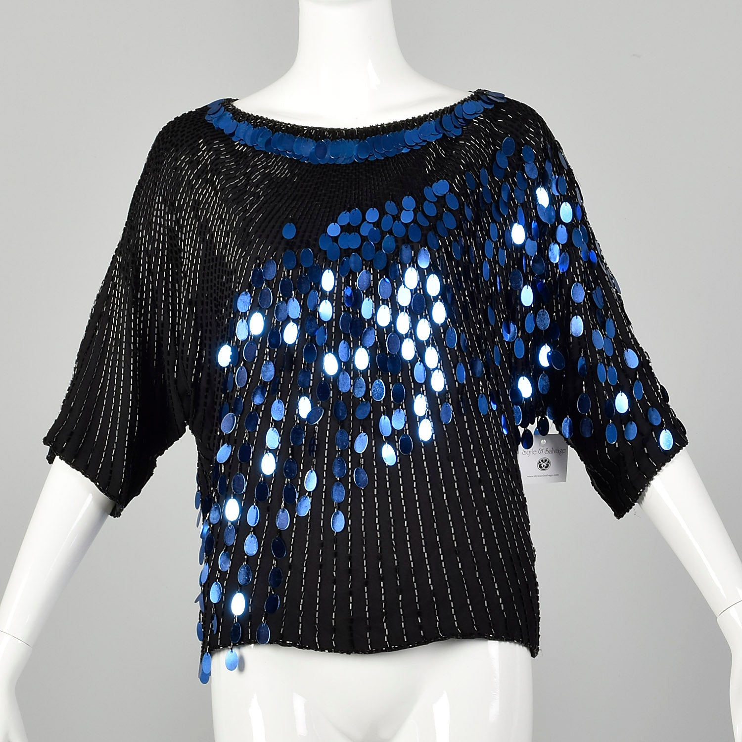 Medium 1980s Black and Blue Dolman Top Beaded Sequin Paillettes