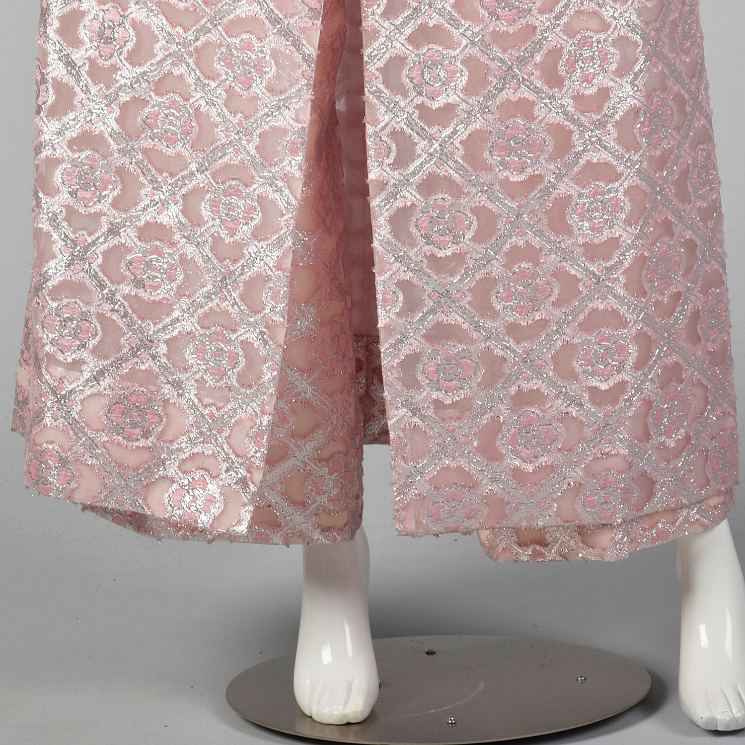 1960s Pink and Silver Tunic Dress and Pant Set