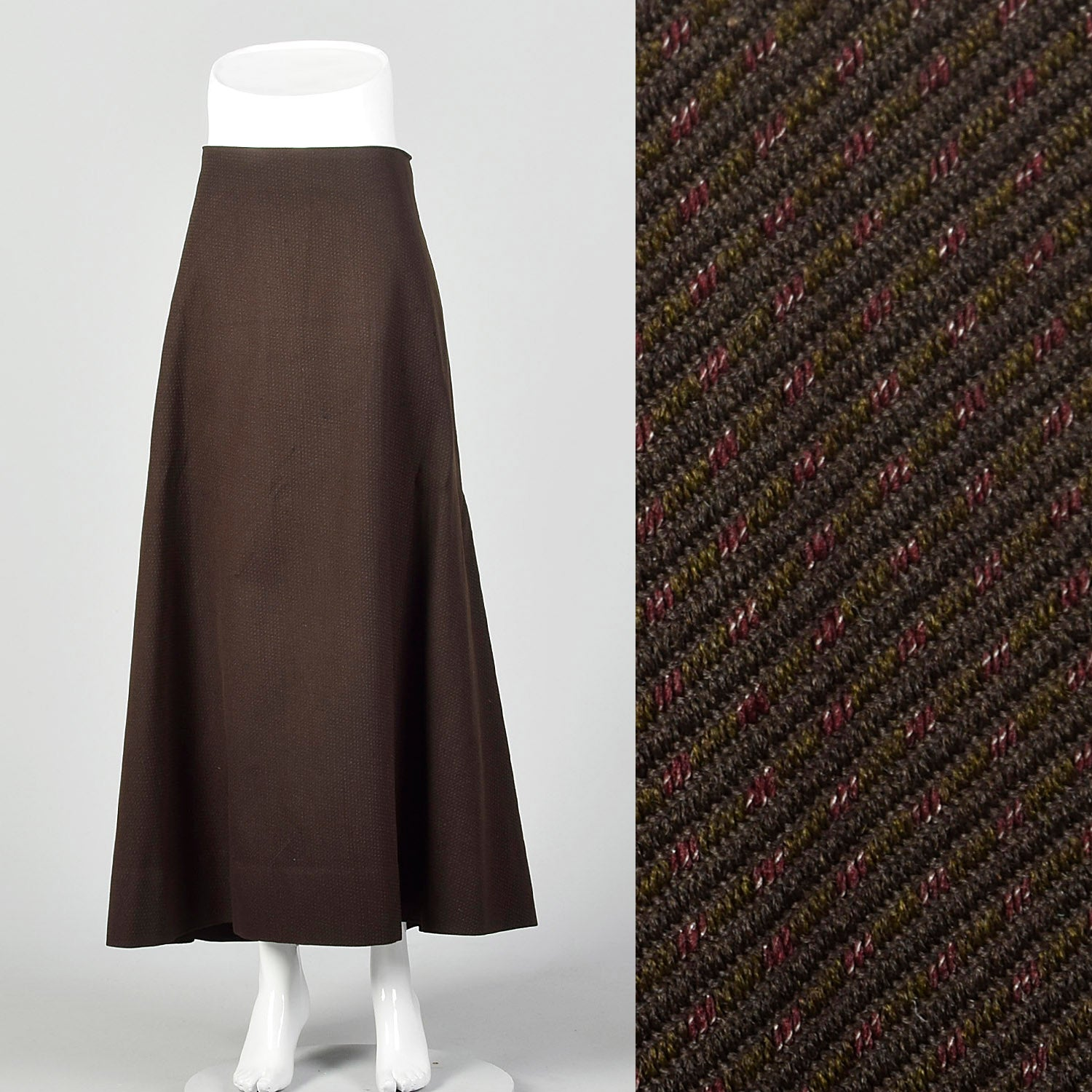 XXL 1910s Brown and Black Striped Skirt