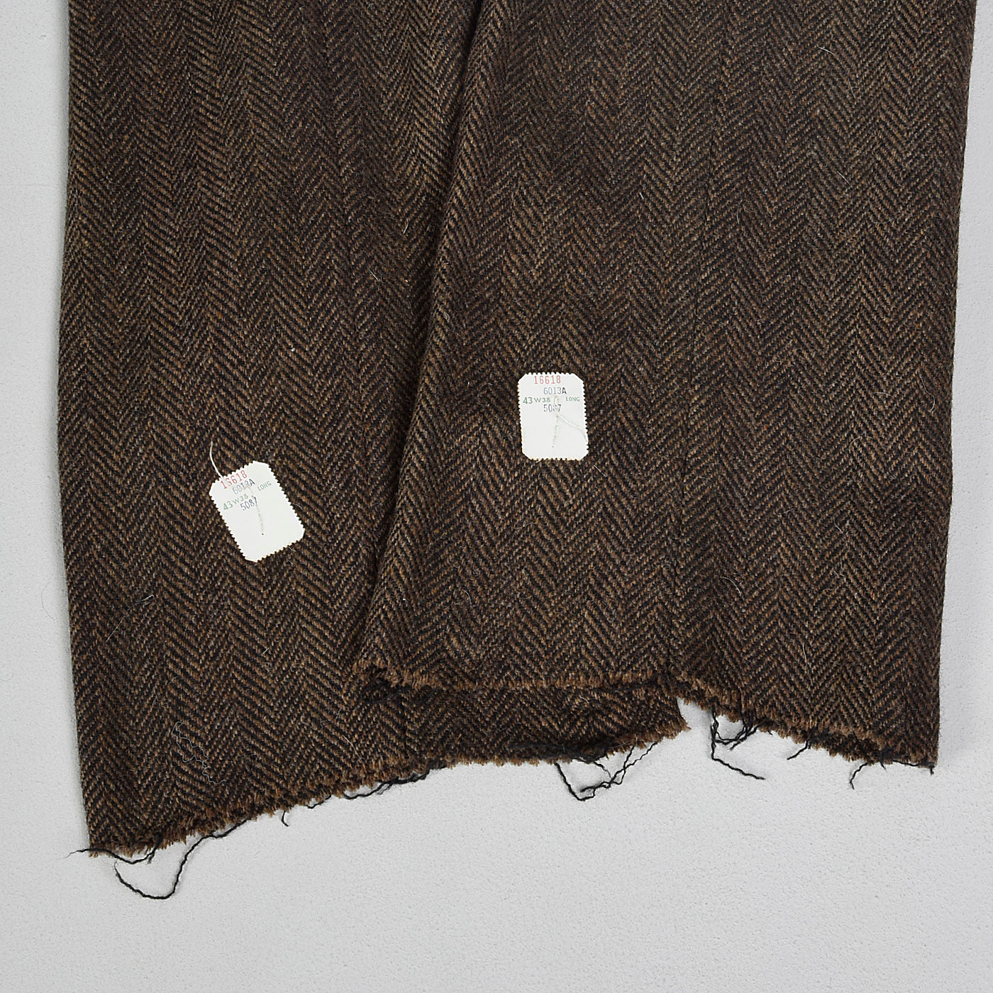 1970s Mens Deadstock Wool Pants in Brown and Black Herringbone
