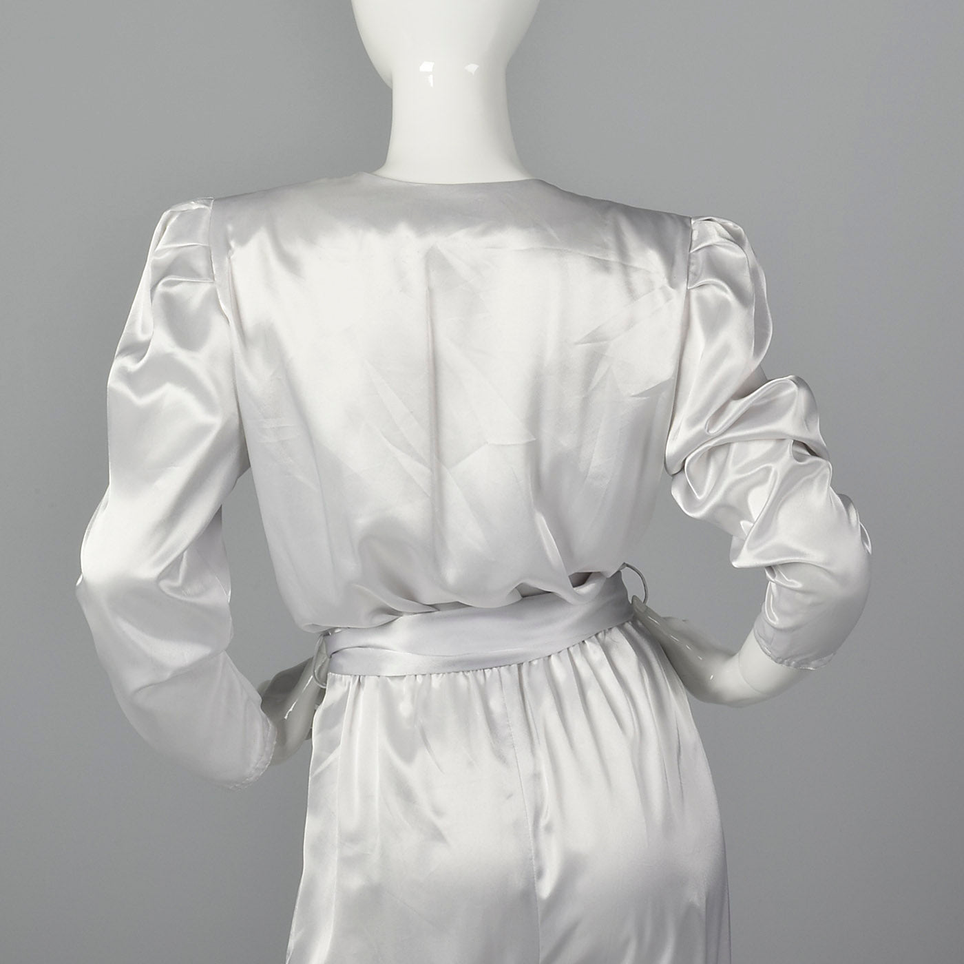 1980s Silky Silver Jumpsuit with Sash Belt