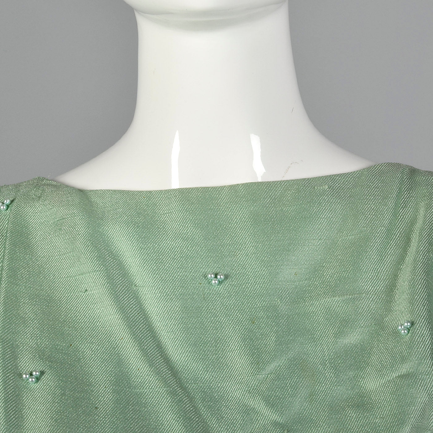 1960s Green Silk Dress with Faux Two-Piece Look