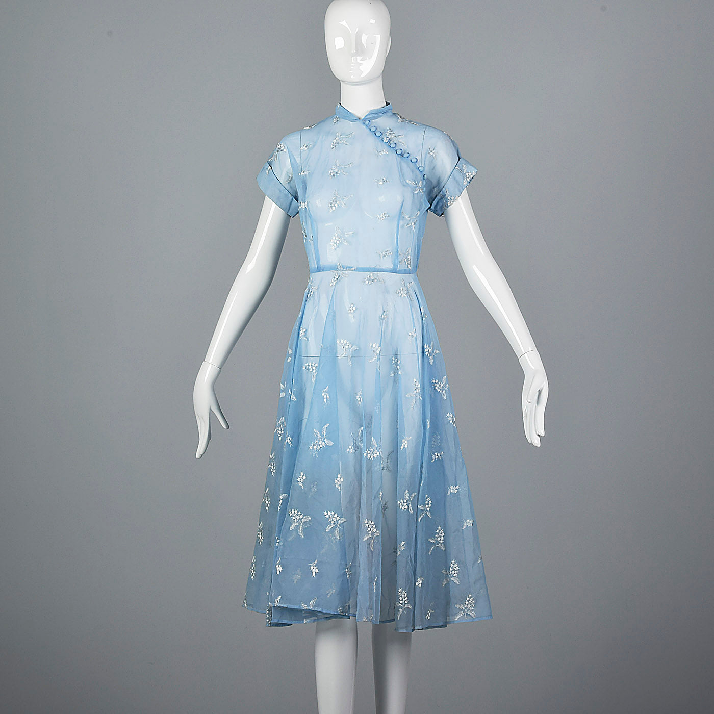 1950s Sheer Blue Fit and Flare Dress