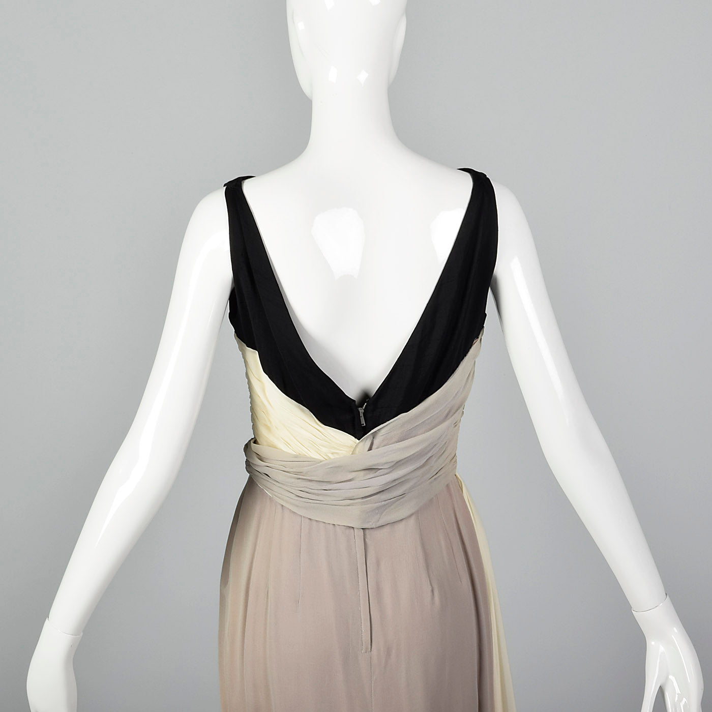 1950s Three Color Cocktail Dress in Silk Chiffon