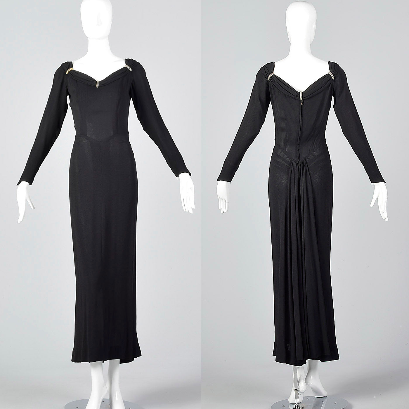 1940s Black Crepe Evening Dress with Train, Very Morticia