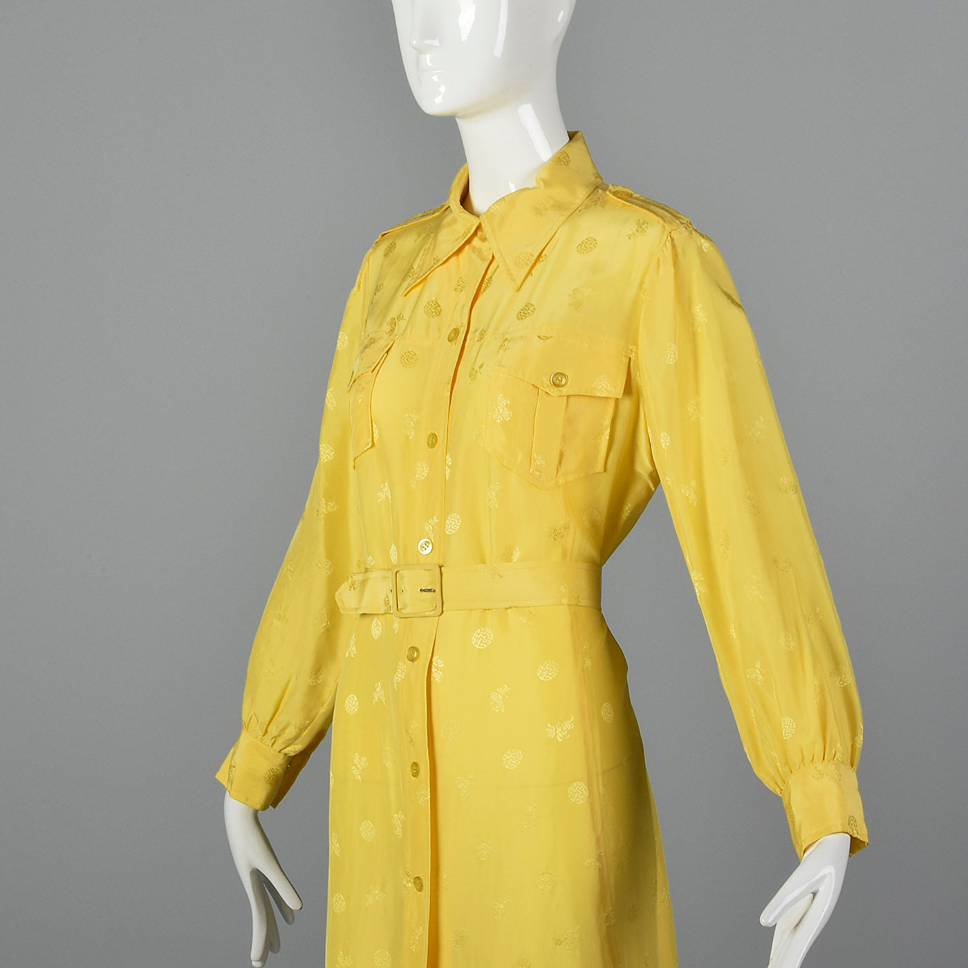 1970s Yellow Day Dress with Belted Waist