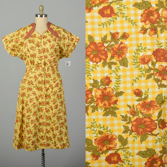 XXL 1960s Housekeeping Uniform Yellow Floral Gingham Cotton Motel Maid Dress
