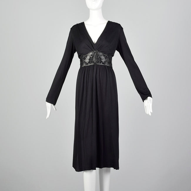 Large Cacharel Black Silk Jersey Dress with Vegan Leather Waist Band