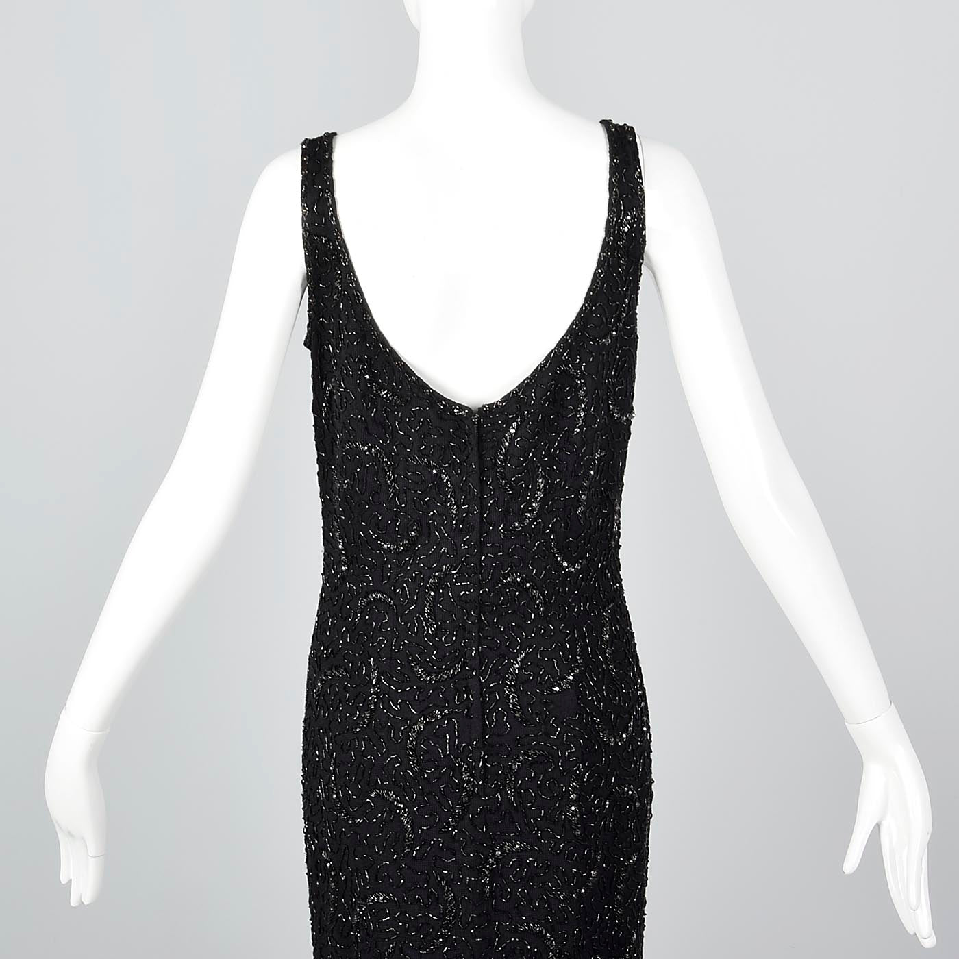 1960s Beaded Knit Full Length Evening Dress