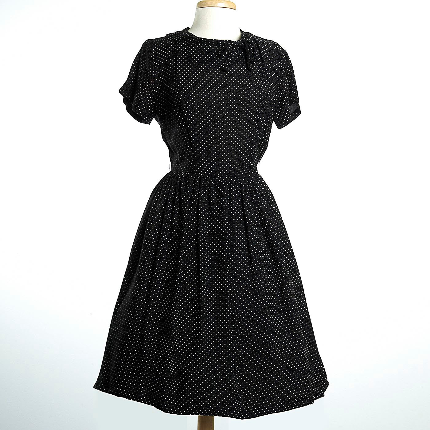 1950s Black Knit Dress with White Polka Dots