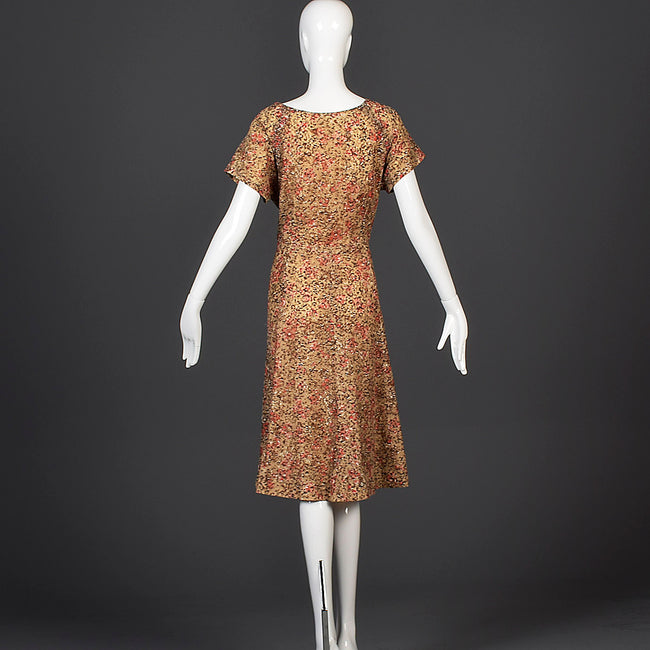 1940s Brown Lace Dress with Sweetheart Neckline