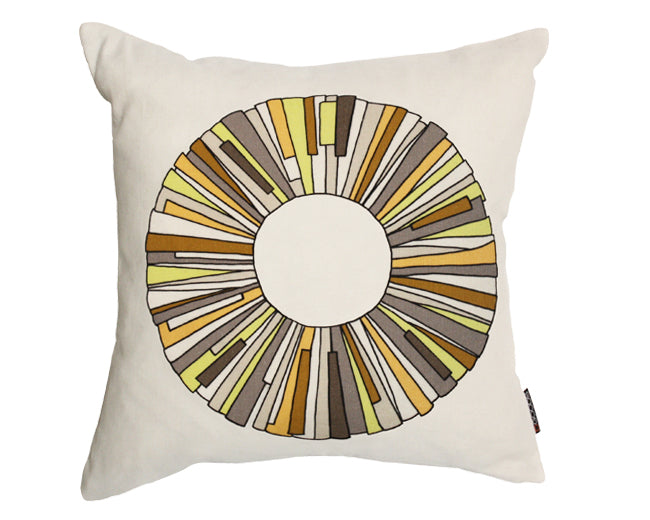 Modern hemp pillow with yellow abstract flower graphic