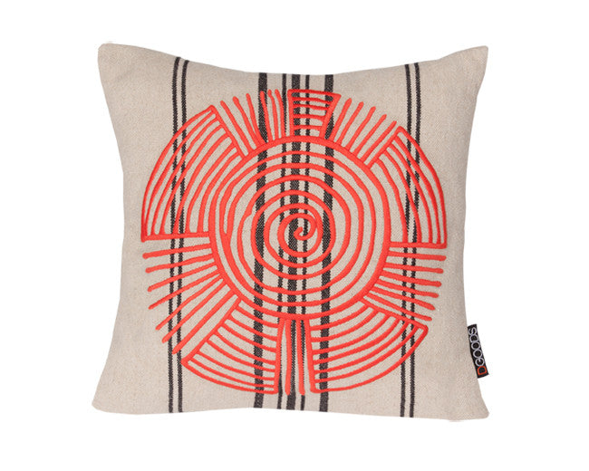 modern southwest pillow with embroidered graphic