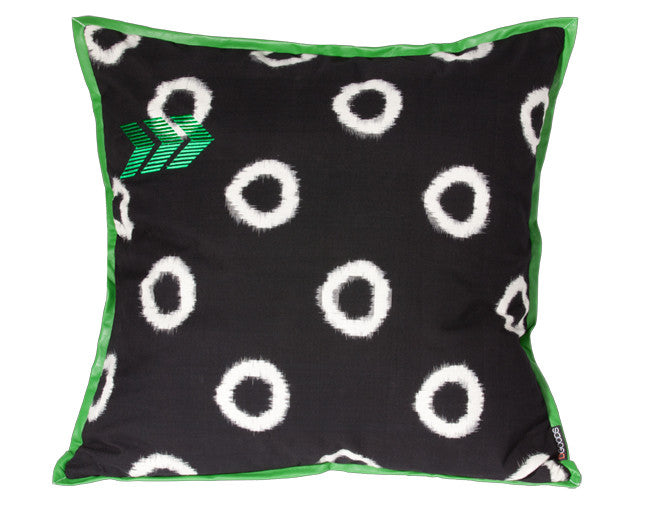 modern floor pillow with graphic print and green leather trim