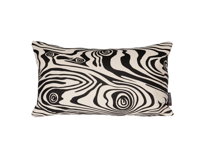 Modern decorative hemp pillow with abstract wood graphic