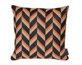 Chevron Persimmon Hemp Pillow in Taupe