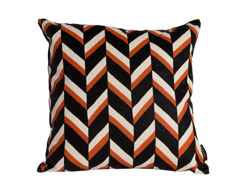 Chevron Persimmon Hemp Pillow in Natural