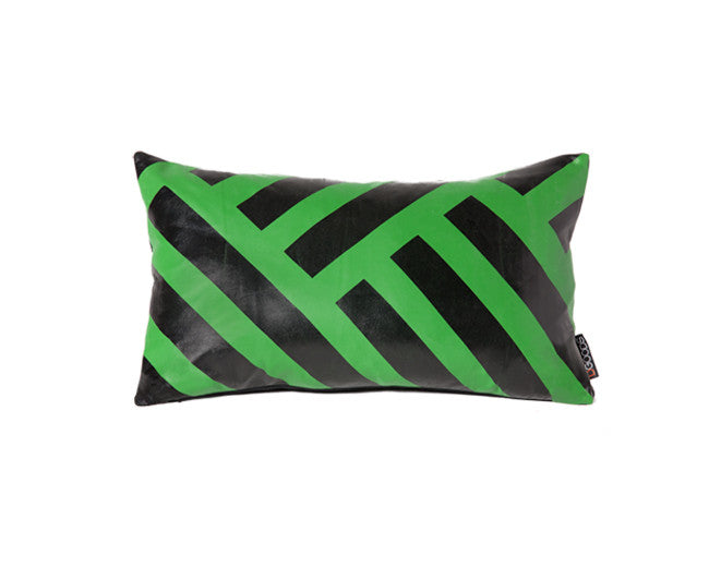 modern leather pillow with graphic stripes