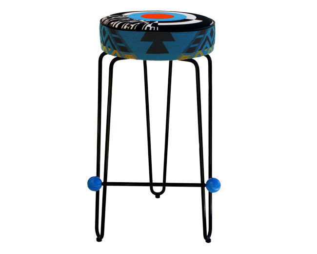 modern round barstool with red orange and black embroidered cushions