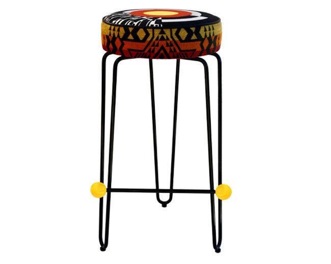 modern round barstool with yellow and black embroidered cushions
