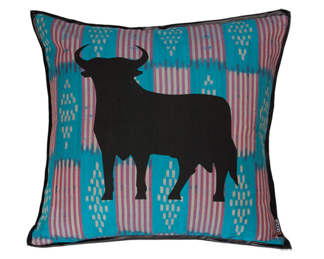 modern floor pillow with taurus graphic