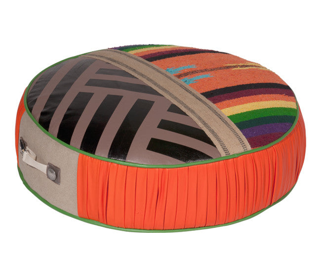 modern seating pouf with tribal stripe pattern