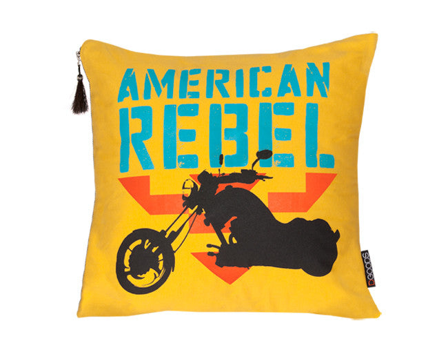 modern pillow with motorcycle graphic
