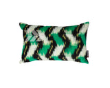 modern decorative pillow with woven chevron and tribal graphic