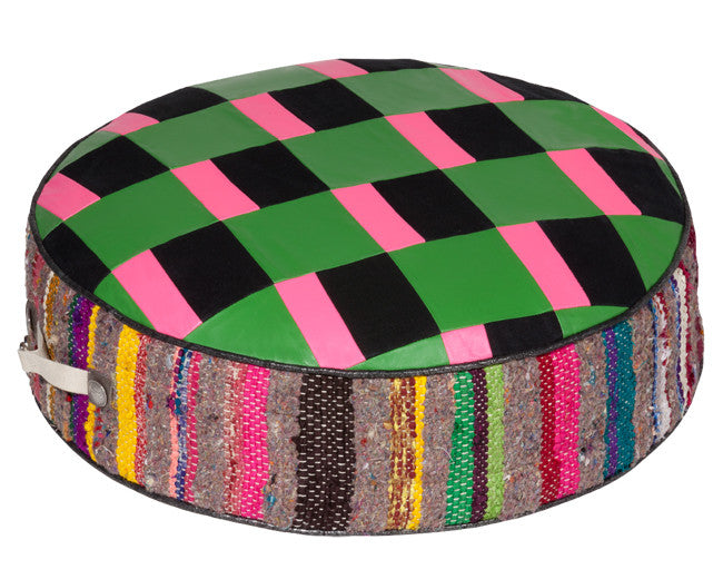modern floor seating with green and pink checkerboard pattern