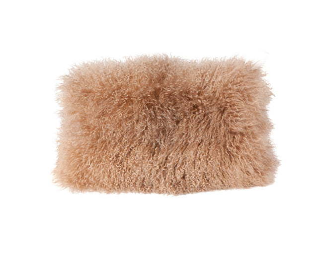 modern pillow with mongolian lamb fur and leather