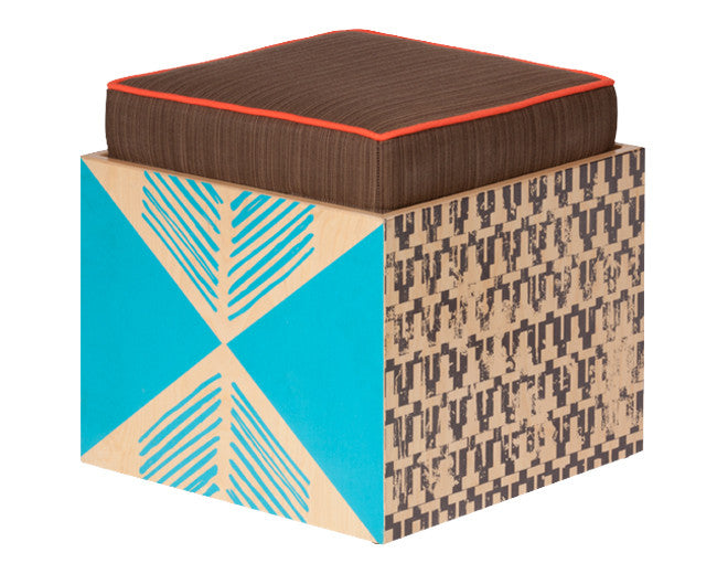 modern wood convertible seating cube with carnival graphic and tray