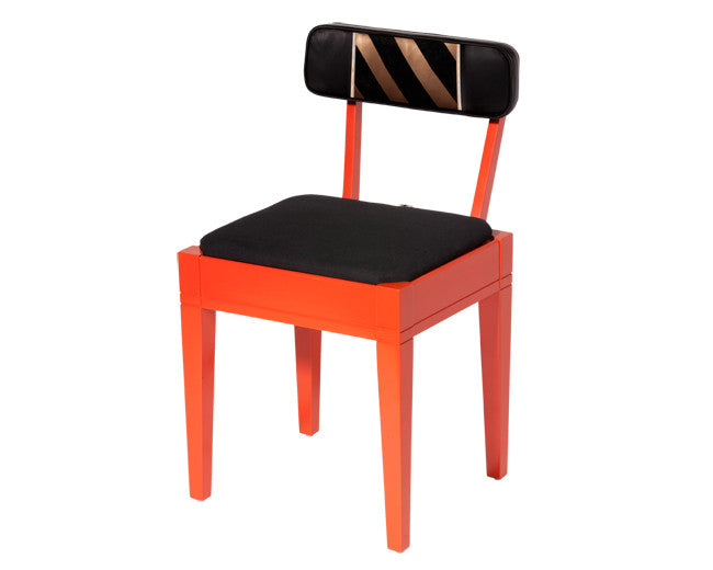modern lambskin and lacquer chair