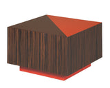 modern red and brown side table