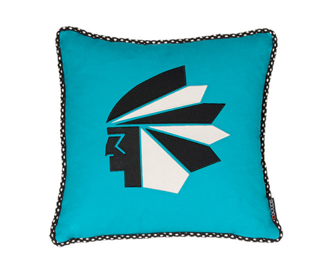 modern turquoise accent pillow with native american head